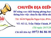 Thông báo chuyển địa điểm về số 12 Trần Thiện Chánh, P12, Q10, TPHCM